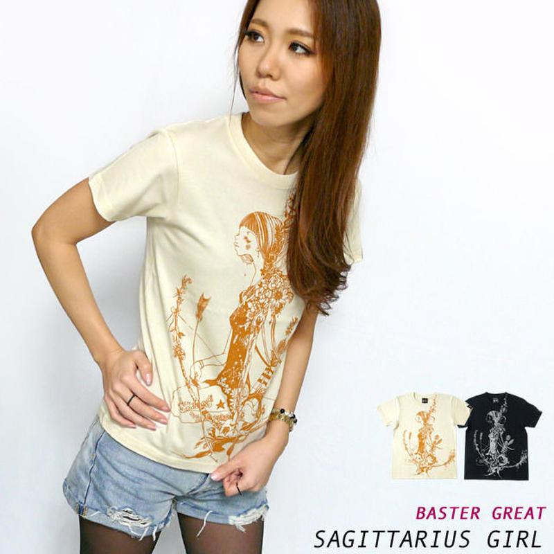 bg018tee - 射手座ガール(Sagittarius Girl)Tシャツ - baster great -G- ( いて座 星座 神話 星占い )
