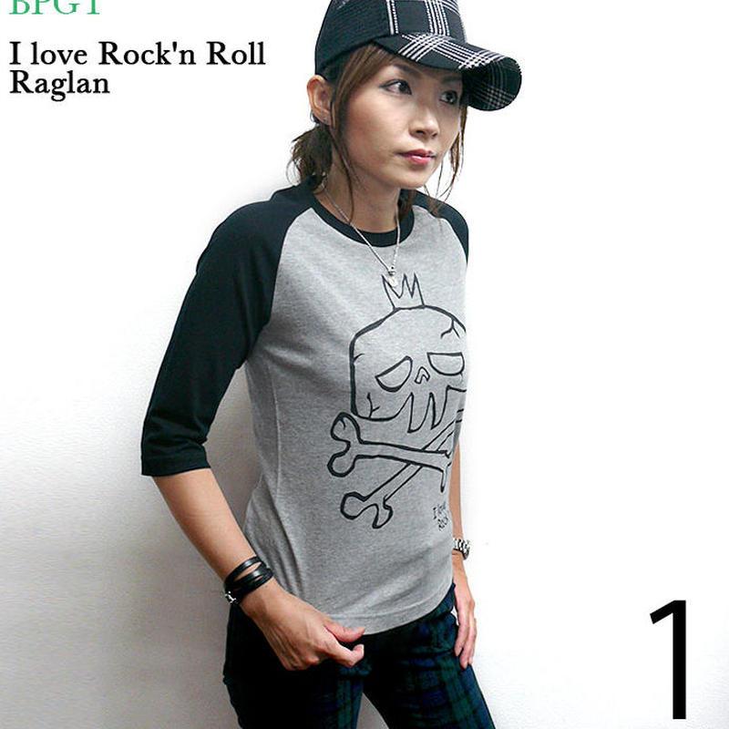 sp033rg - I love Rock'n Roll(スカルLOVE)ラグランスリーブTシャツ -G-