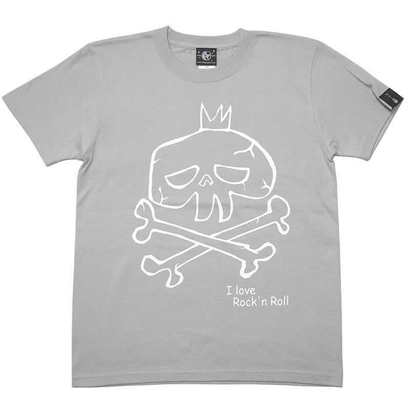 sp033tee-lg - I love Rock'n Roll(スカルLOVE) Tシャツ (ライトグレー)-G- ロック ドクロ 落書き 半袖 灰色