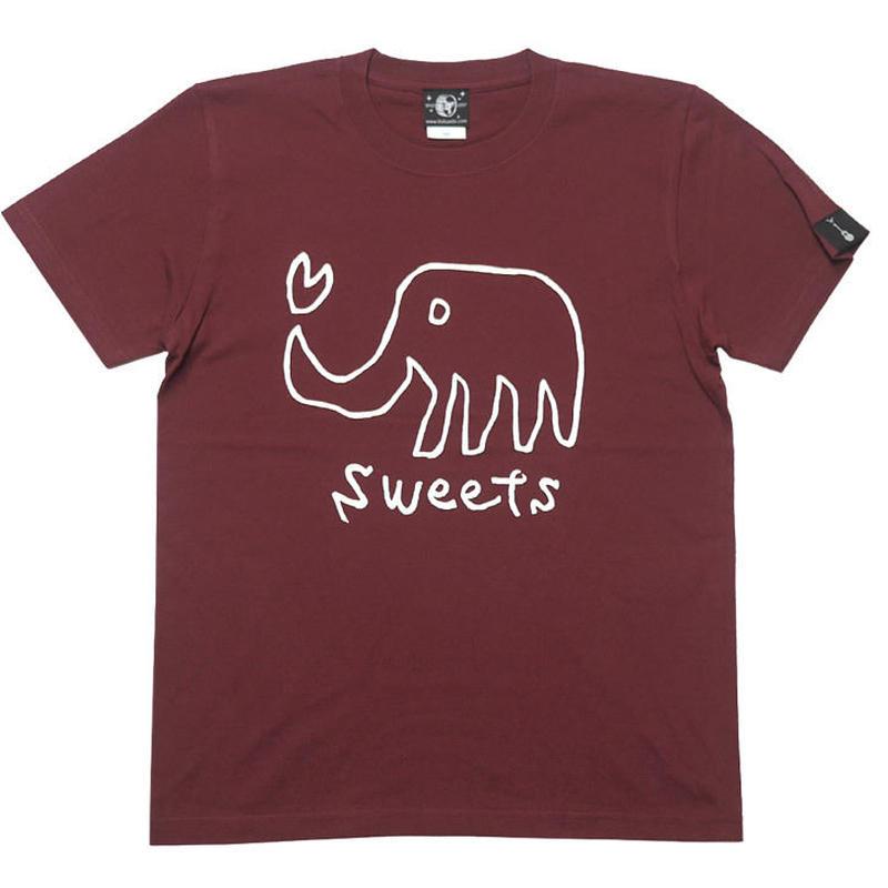 sp013tee-ba - sweets Tシャツ (バーガンディ)-G- 可愛い イラスト 象 ゾウ アニマル柄 小豆色 半袖