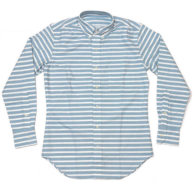 12daysセール! sh75375-bu - オックスフォード ボーダーBDシャツ - VINTAGE EL ヴィンテージイーエル -G- 長袖 ボタンダウン カジュアル 日本製