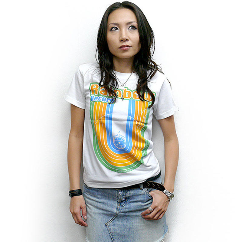 sp028tee - Rainbow Record (レインボーレコード) Tシャツ -G- 虹 ポップ ロック かわいい カジュアル 半袖 ホワイト 白