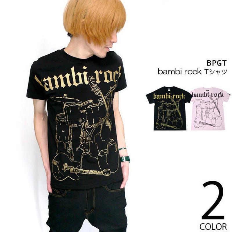 12daysセール! hw005-rt - bambi rock Tシャツ - BPGT -G-  ROCK ロック ギター バンドTシャツ ブラック ピンク オリジナル 半袖