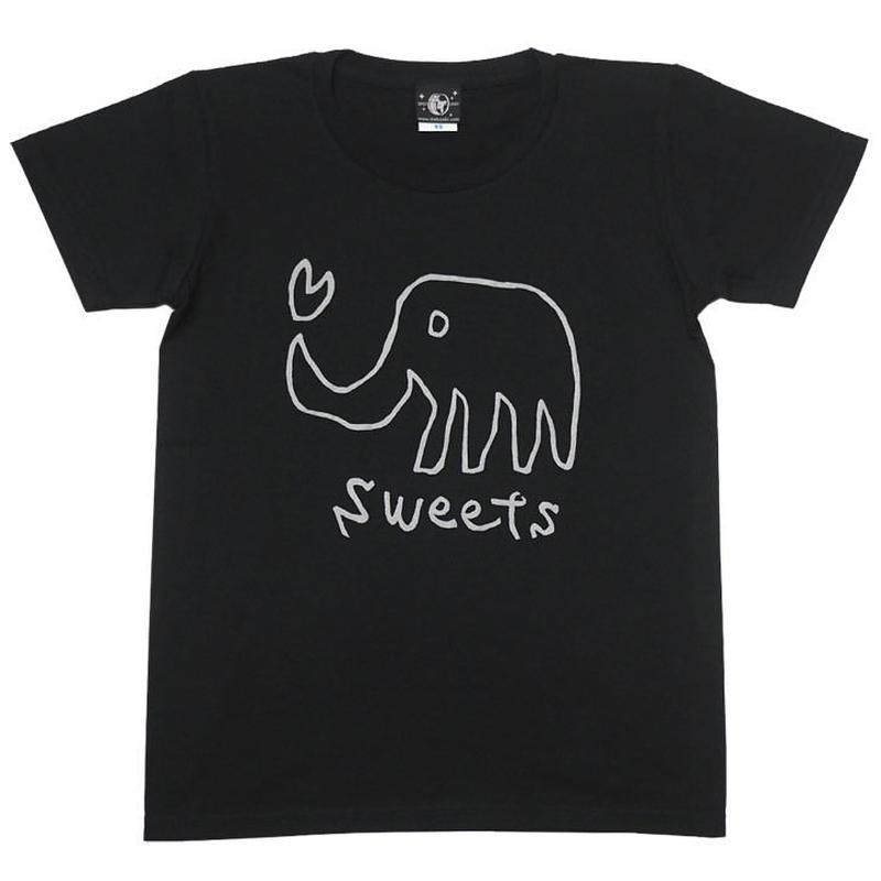 2週間セール!! sp013ut - sweets UネックTシャツ -G- かわいい イラスト 象 ゾウ アニマル柄 ブラック 黒色 半袖