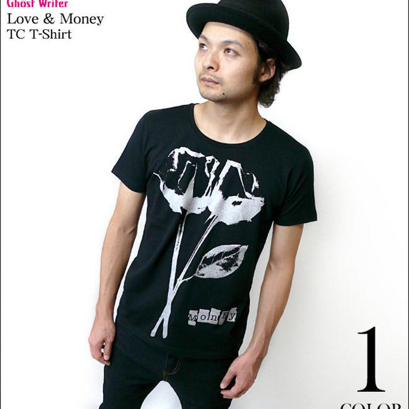 廃盤(在庫限り) tgw021tc - Love & Money(ラブ&マネー)TC Tシャツ -G- バラ 薔薇 パンク 半袖 メンズ レディース カットソー
