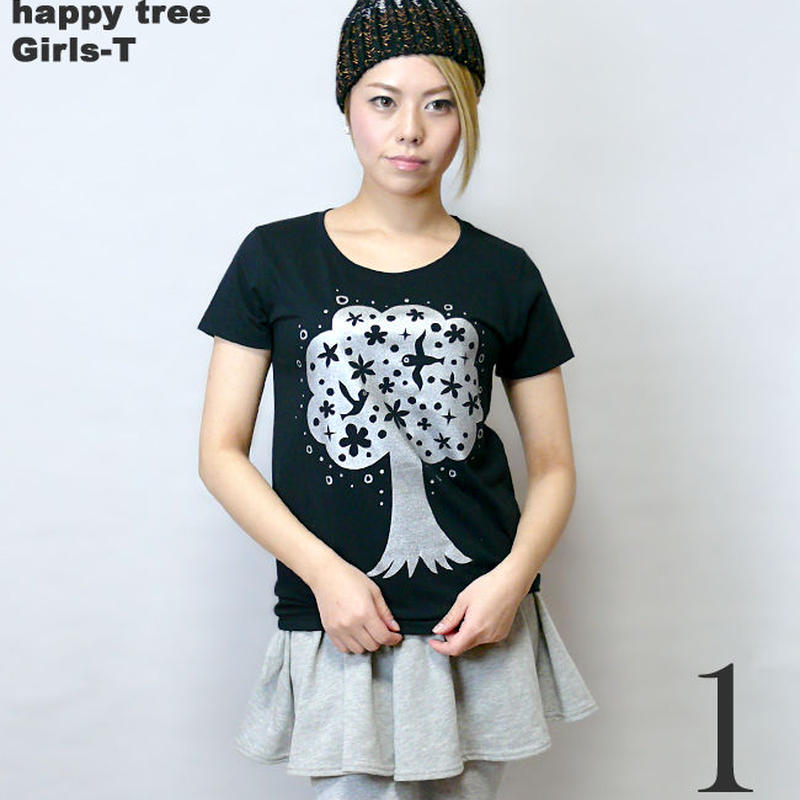 mn007gu - happy tree ( ハッピー ツリー ) ガールズ UネックTシャツ - なかひらまい -G- 幸せの木 イラスト カジュアル コラボ 半袖
