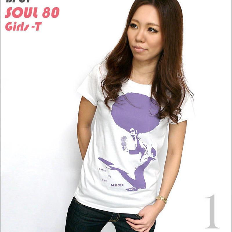 sp021-gu - SOUL 80(ビックアフロ)ガールズ UネックTシャツ -G- ミュージック ディスコ オリジナル ホワイト かわいい レディース 半袖