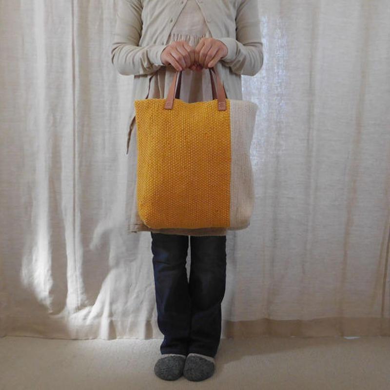 裂き織りバッグ 黄+生成
