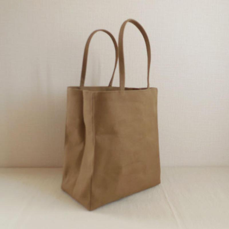 帆布 紙袋バッグ オリーブベージュ