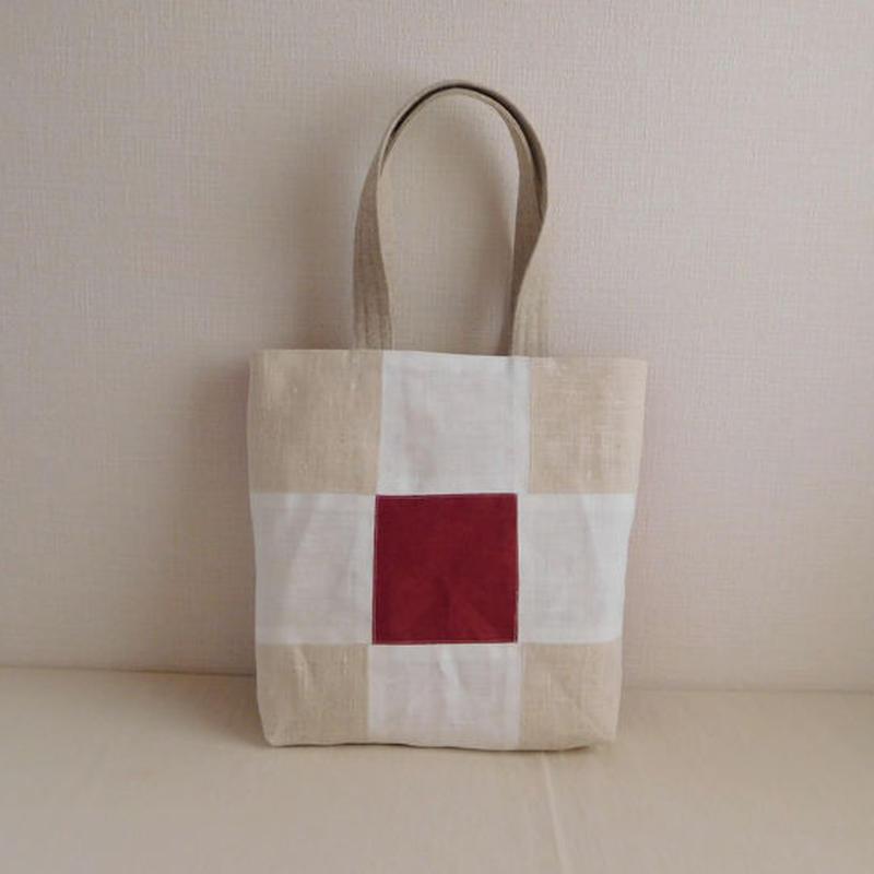 リネンのパッチワークバッグ 赤×生成り