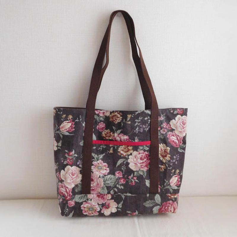 花柄 ショルダーバッグ 綿麻