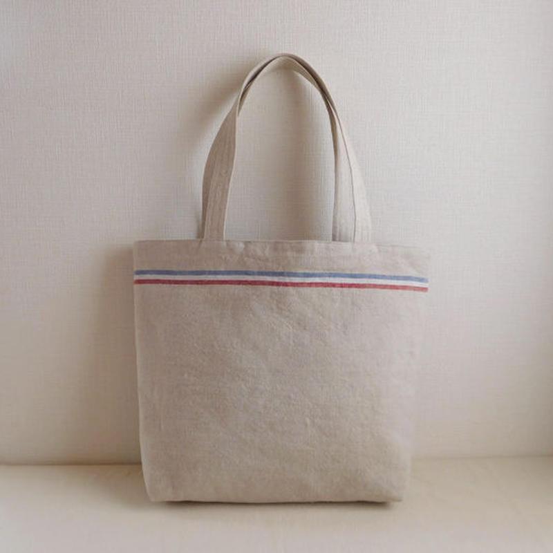 リネン トリコロールラインのバッグ