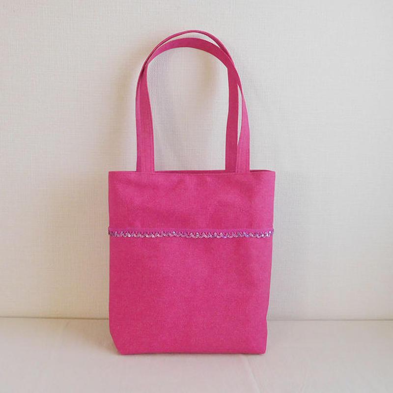 ピンクローズ スパンコール付きバッグ