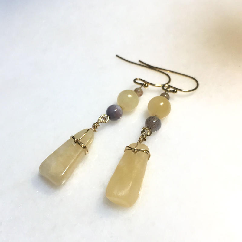 Aragonite rustic earrings (Yellow)