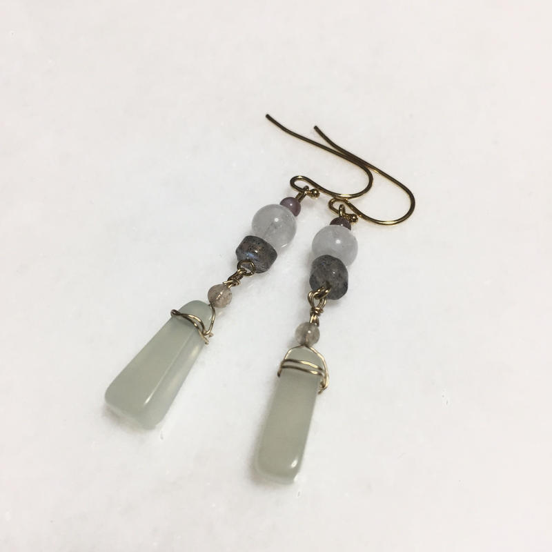 New jade rustic earrings (Milky white)