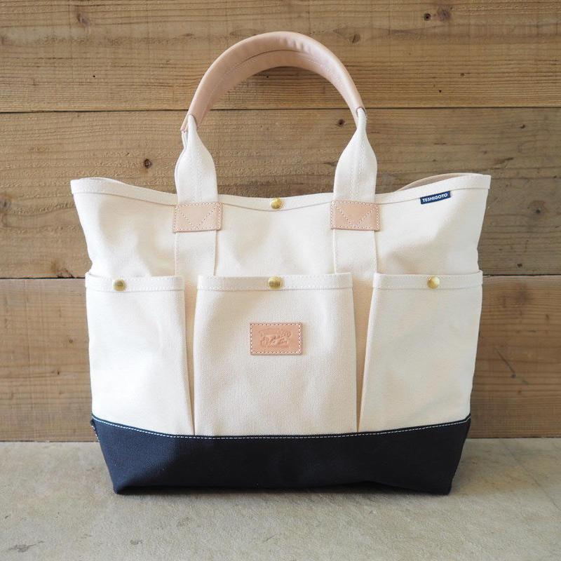 帆布ガーデニングバッグ(ホワイト×ブラック)
