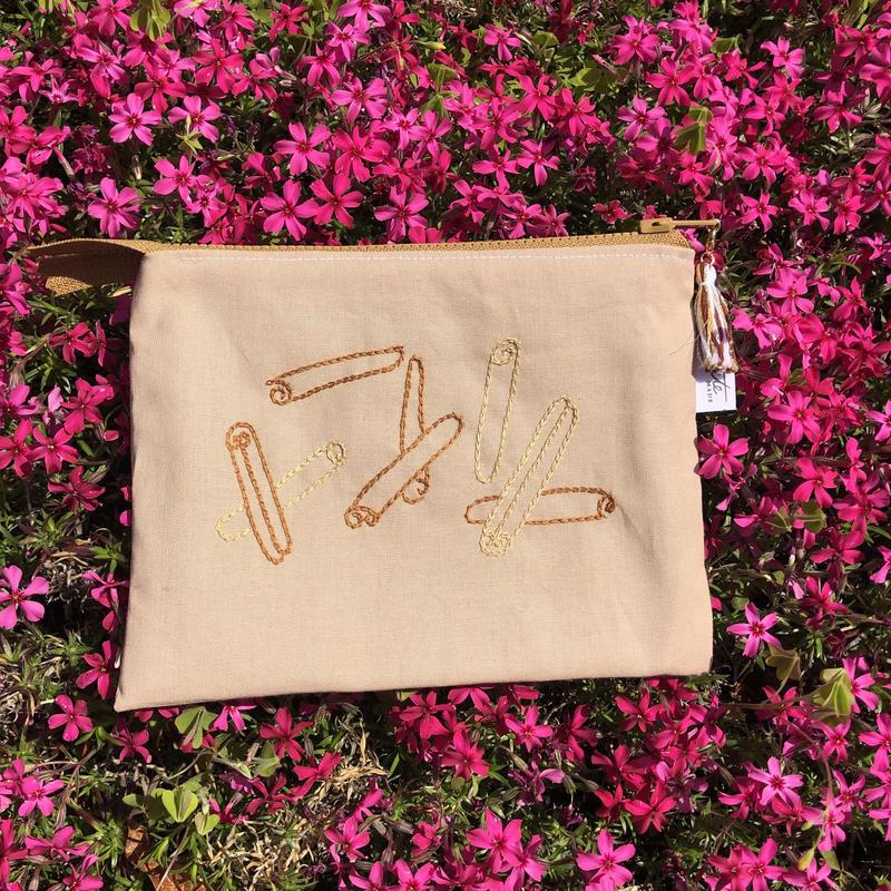 刺繍ポーチ cinnamon