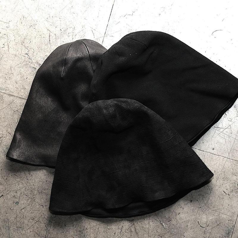 STRETCH LEATHER KNIT CAP