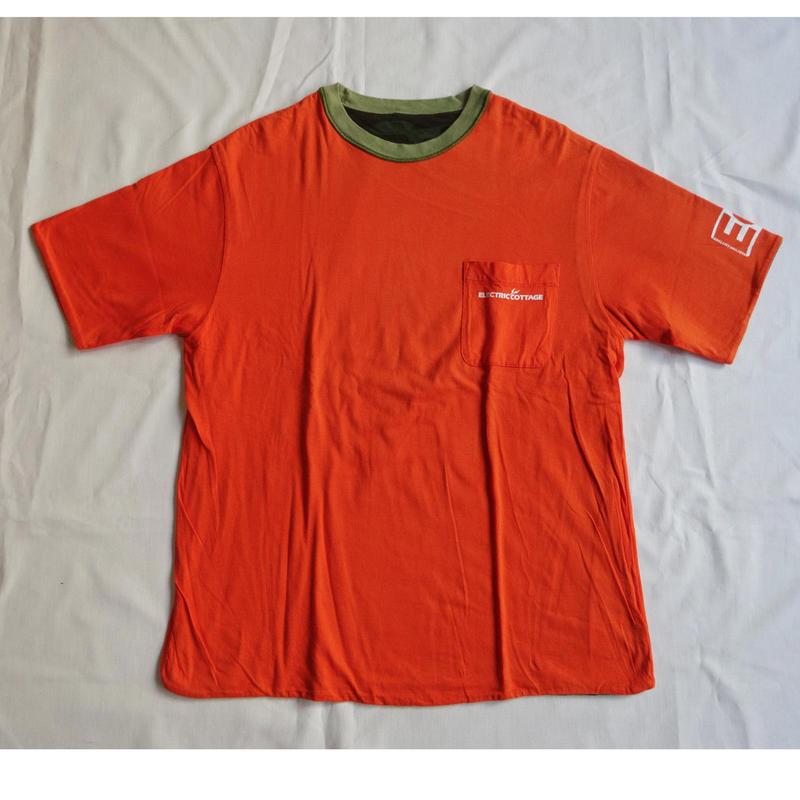 USED (古着)ERECTRIC COTTAGE/LET IT RIDE リバーシブルTシャツ(オレンジ/カモ)