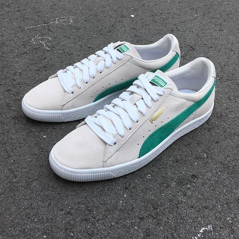 PUMA |SUEDE 90681 (WhisperWht/Green Flash/Wht)
