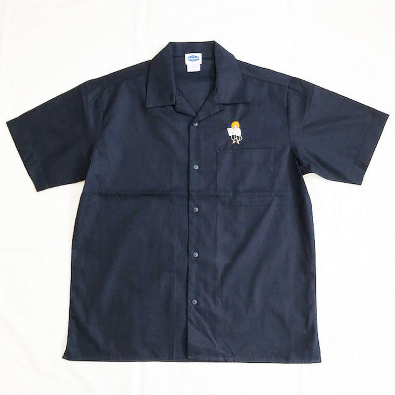 "Oh!theGuilt /SCUMBOY ""JAPANESE GIRL"" S/S OPEN COLLAR WORK SHIRT(ネイビー)"