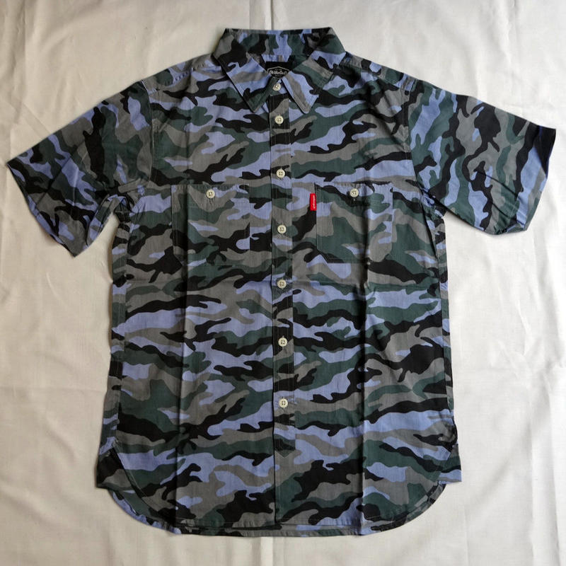 Oh!theGuilt:S/S REAL WORK CHAMBRAY  SHIRT CAMO(ブルーカモ)