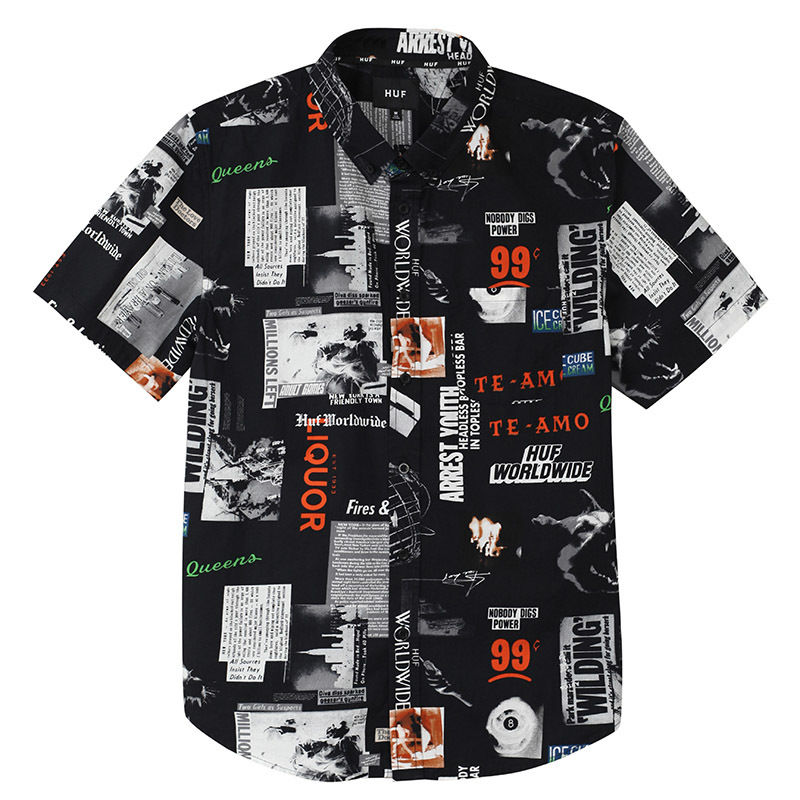 HUF / HEADLINES S/S WOVEN SHIRT (BLACK)