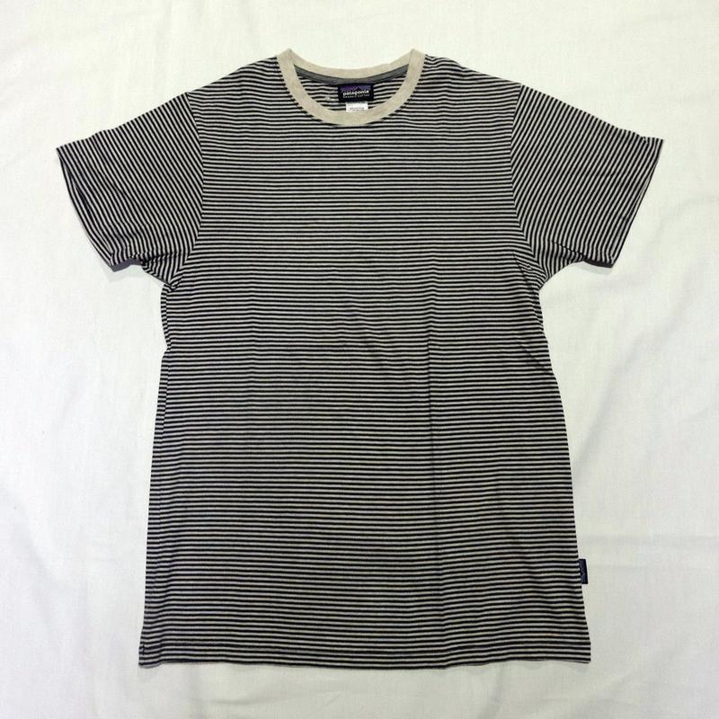 USED (古着)PATAGONIA ボーダーTシャツ(ブラック/ナチュラル))