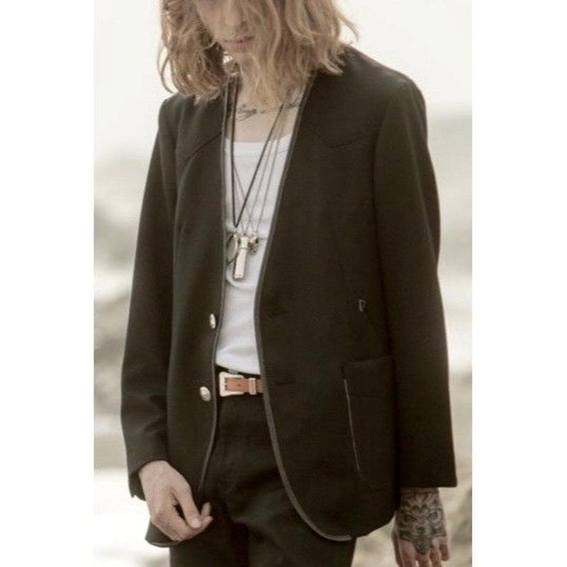 Western Collarless Concho Jacket. -Gabardine Wool-