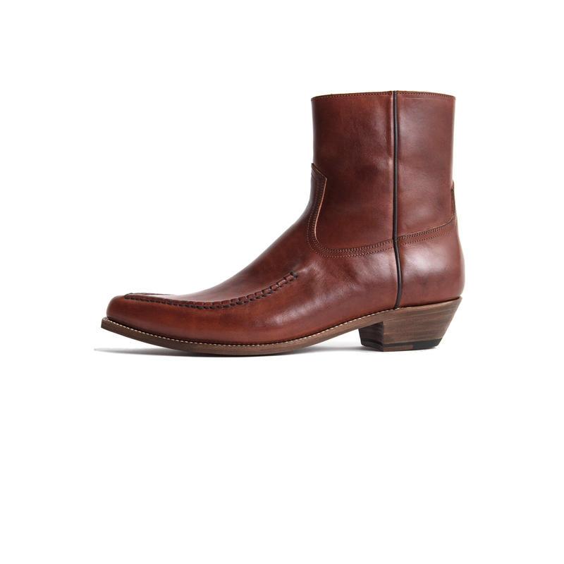 Western Mocasin Side Zip Boots. -Cow Hide-