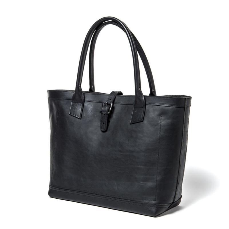 LEATHER TOTE BAG  (BLACK)