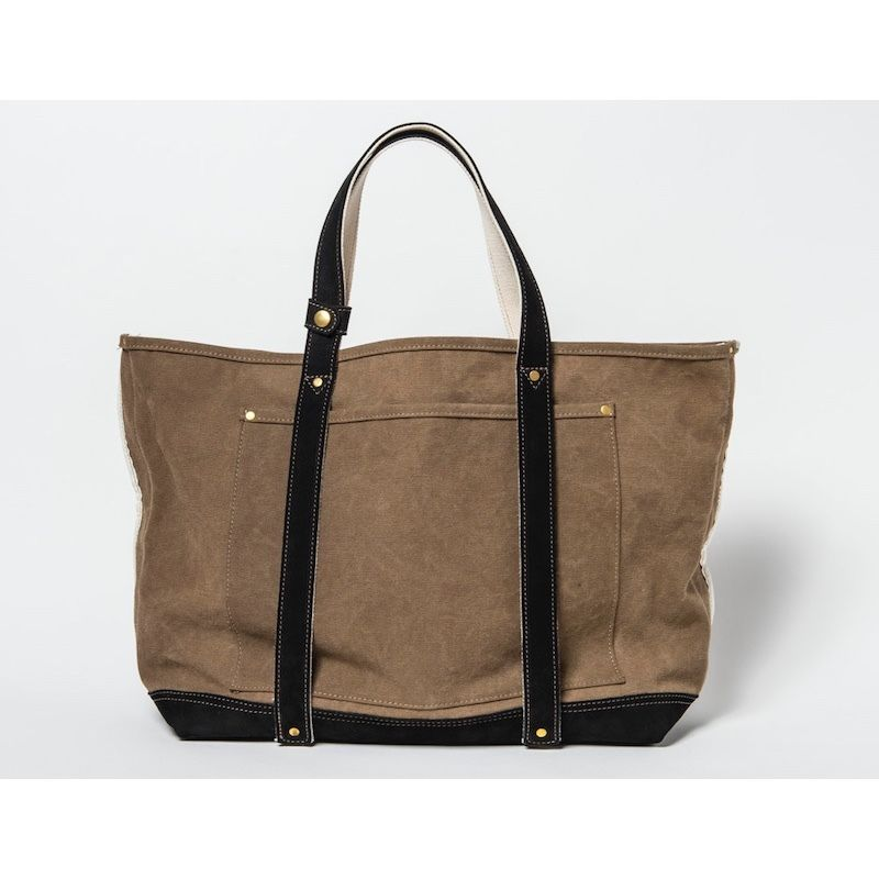TANNING CANVAS TOTE BAG (KHAKI×BLACK)