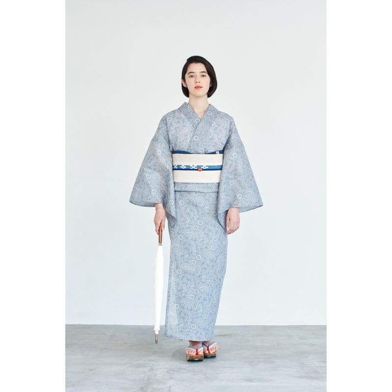ゆかた 伊勢型/唐草/グレー