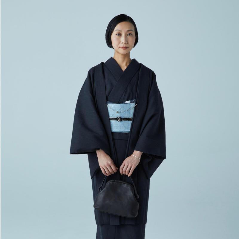 ゆかた 遠州刺子 黒×黒