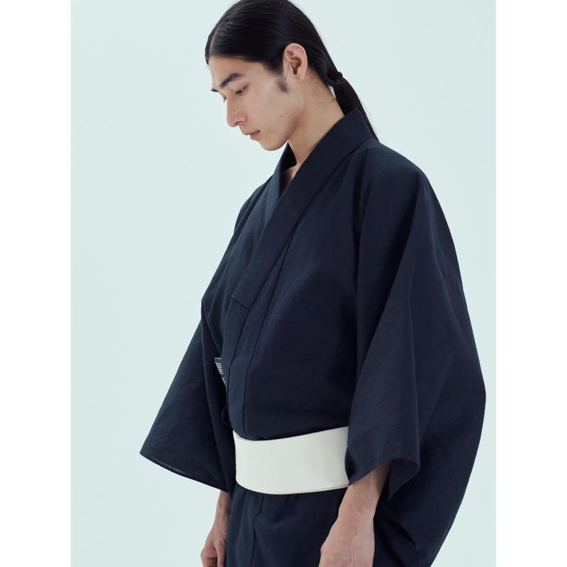 ゆかた 遠州 刺子 黒×紺