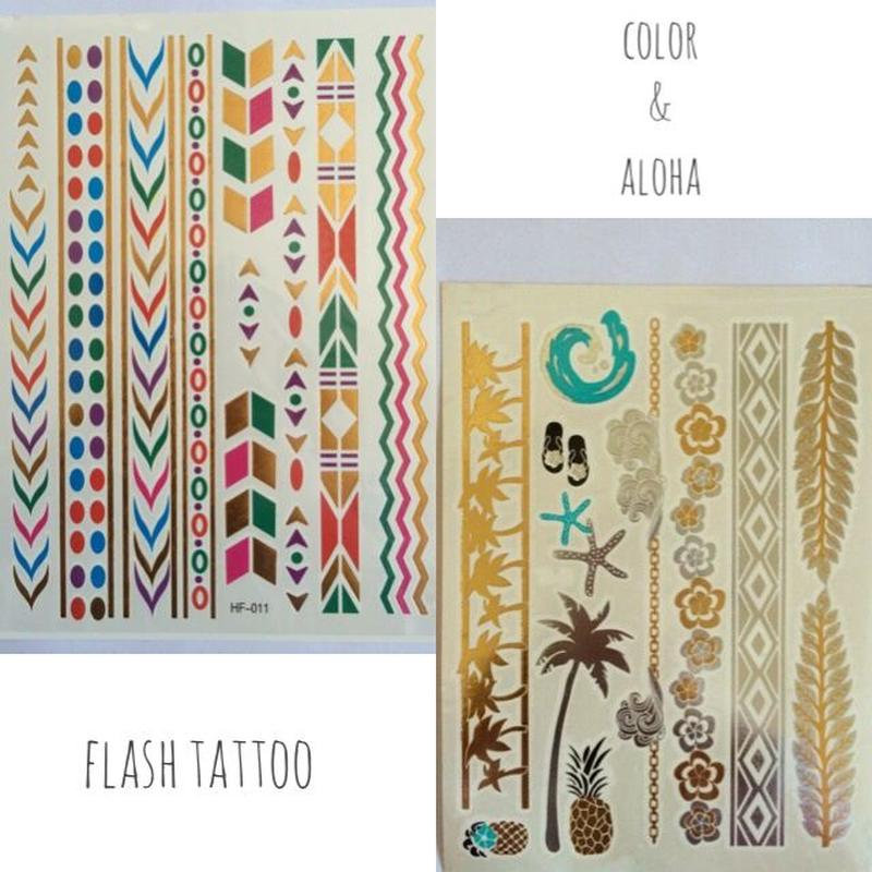 flash tattoo  2枚セット(color&ALOHA)