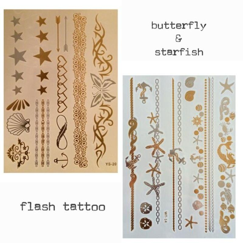flash tattoo 2枚セットbutterfly&starfish