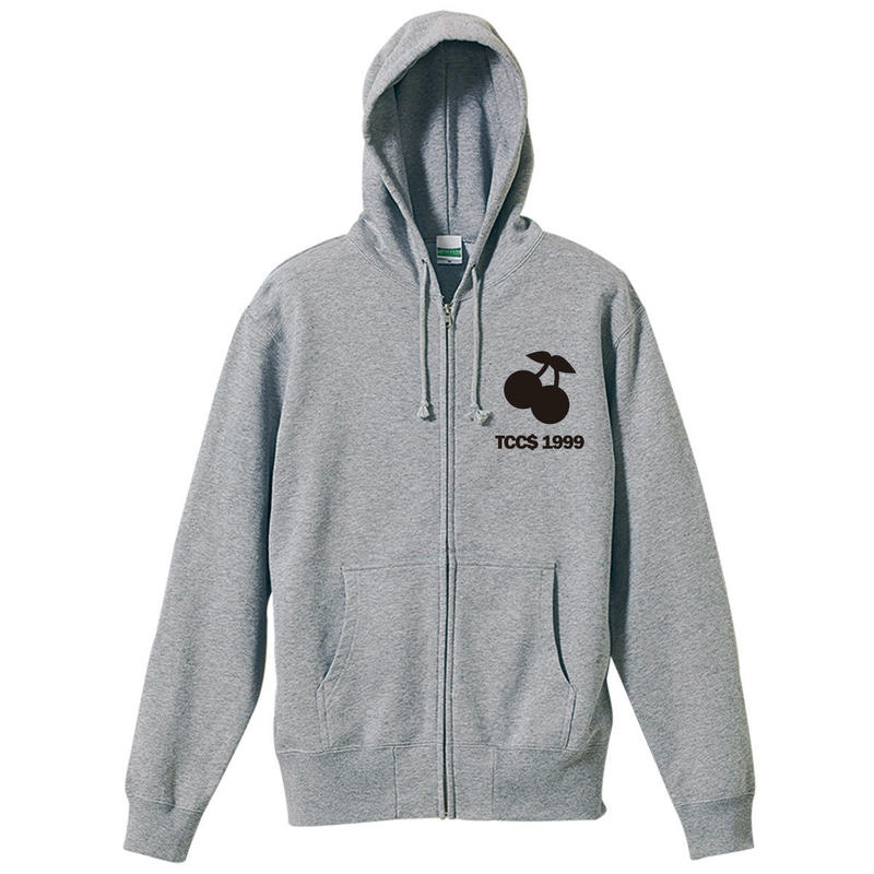 CHERRY ZIP-UP HOODIE / GRAY