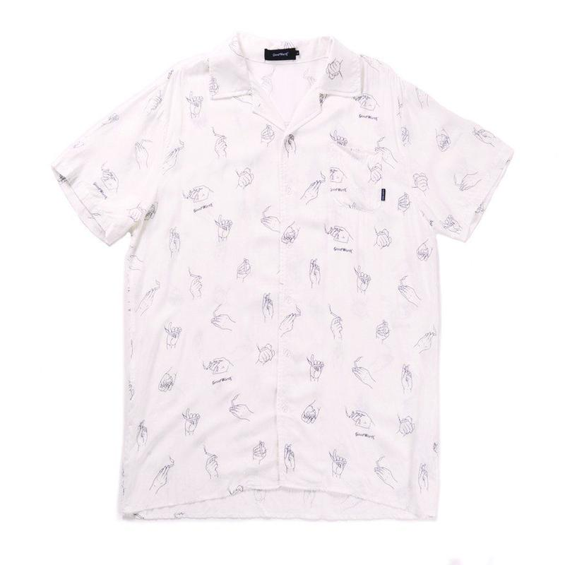 LIT WOVEN BUTTON UP - WHITE