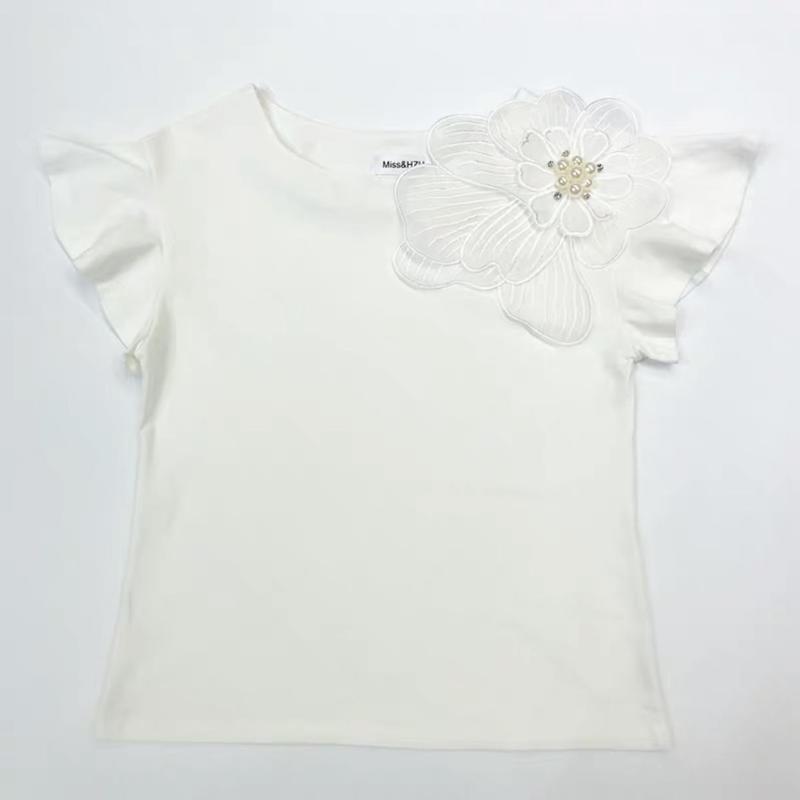 デコラティブフラワーTシャツ
