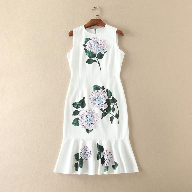 紫陽花プリントマーメイドドレス
