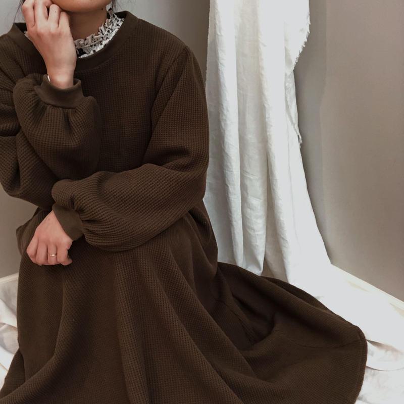 cotton waffle long dress| brown