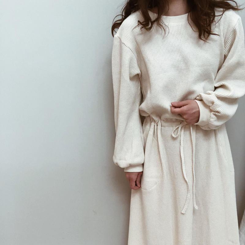 cotton waffle long dress |cream