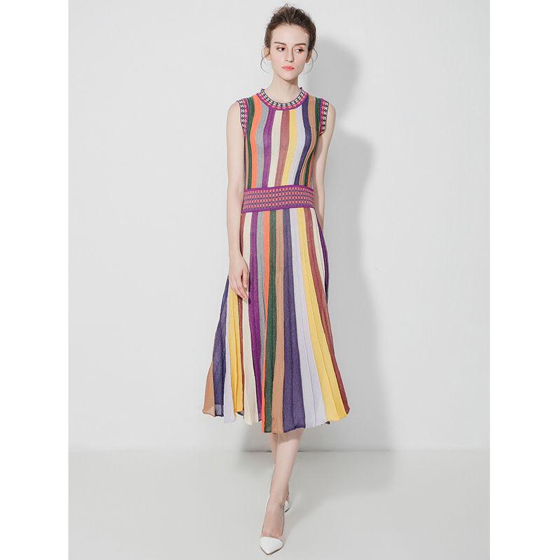 TA-023 Multicolored Elegant Knit Dress