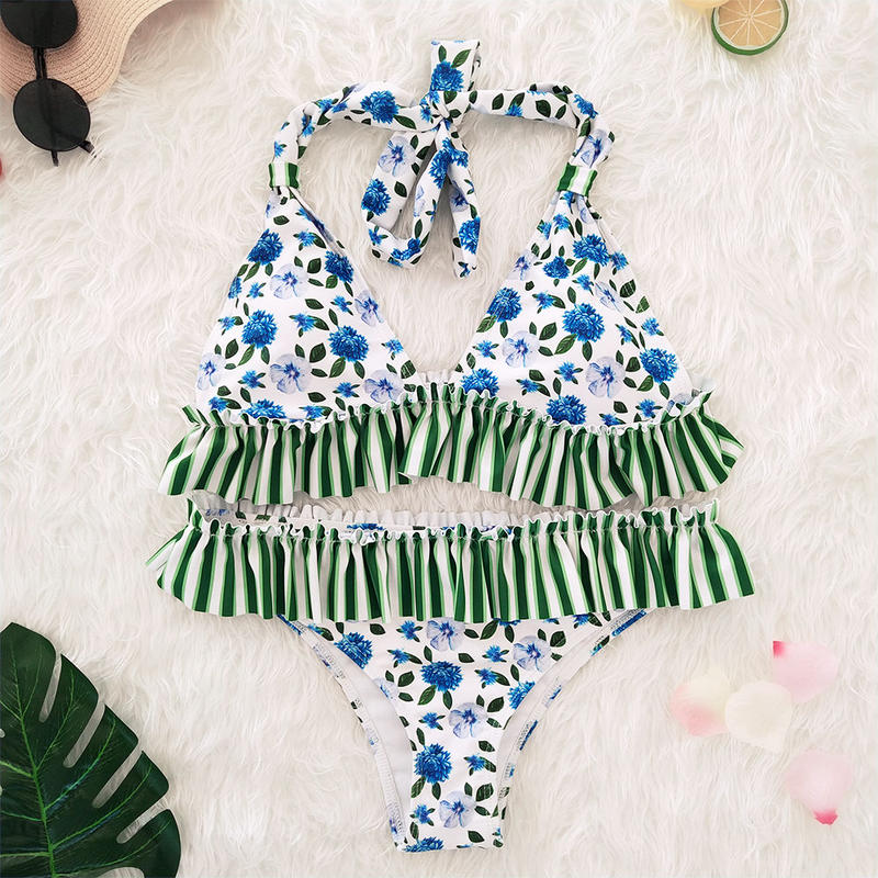 TB-014  White×Green Romantic Flower Halter Neck