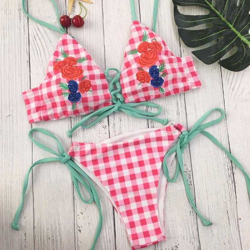 TB-018 Gingham Check Rose Embroidered Bikini