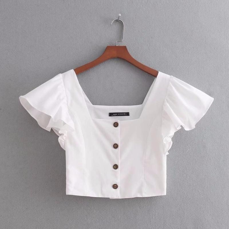 TA-014  White Linen Square Collar Blouse