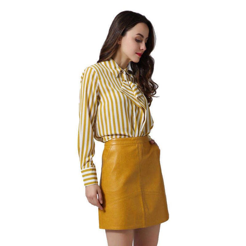 TA-024 PU Leather Trapezoid Skirt (4色)