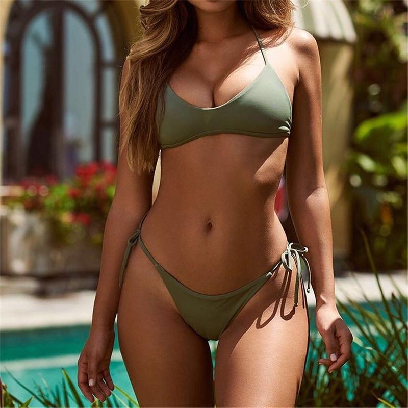 TB-040 Forest Green Simple Bikini