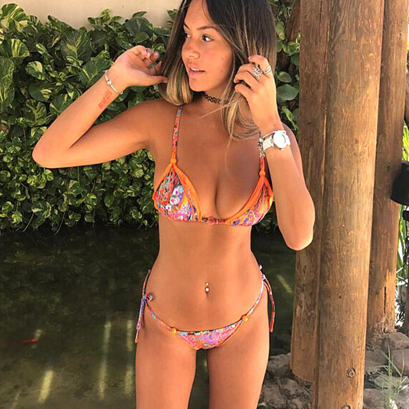 TB-030 Pop Orange Flower Bikini